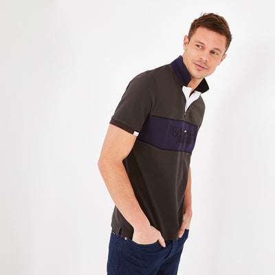 Short-sleeved grey color-block cotton polo