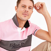 Short-sleeved pink color-block cotton polo