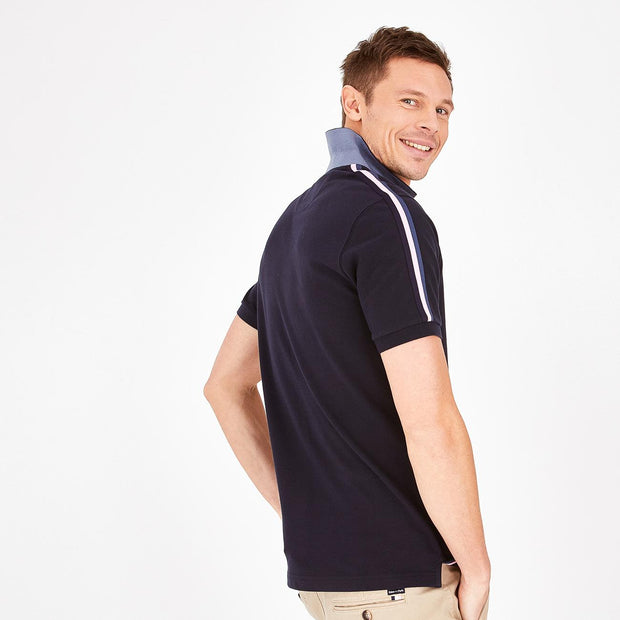 Short-sleeved navy blue cotton polo