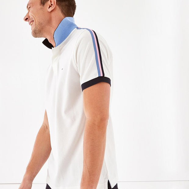 Short-sleeved beige cotton polo