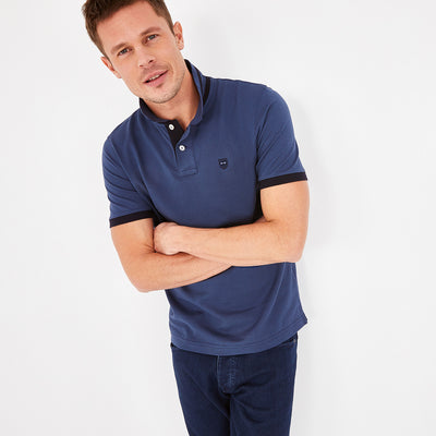 Short-sleeved blue Pima cotton polo