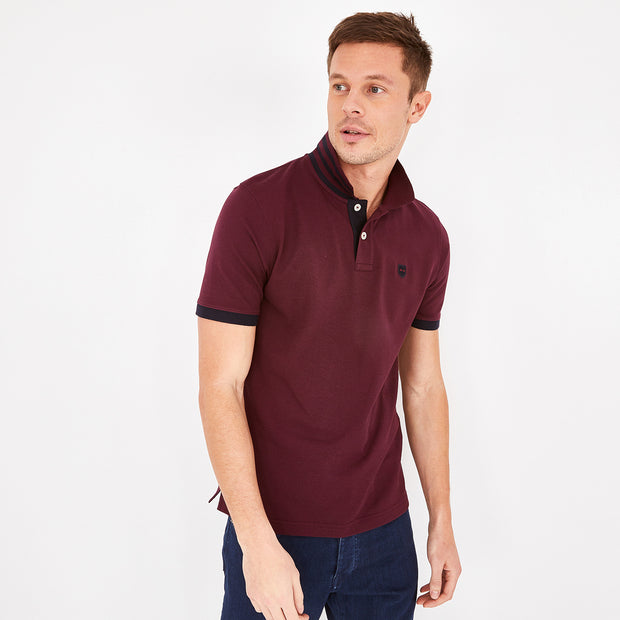 Short-sleeved burgundy Pima cotton polo
