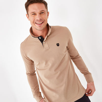 Solid beige Pima cotton polo