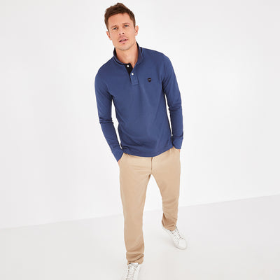 Solid blue Pima cotton polo