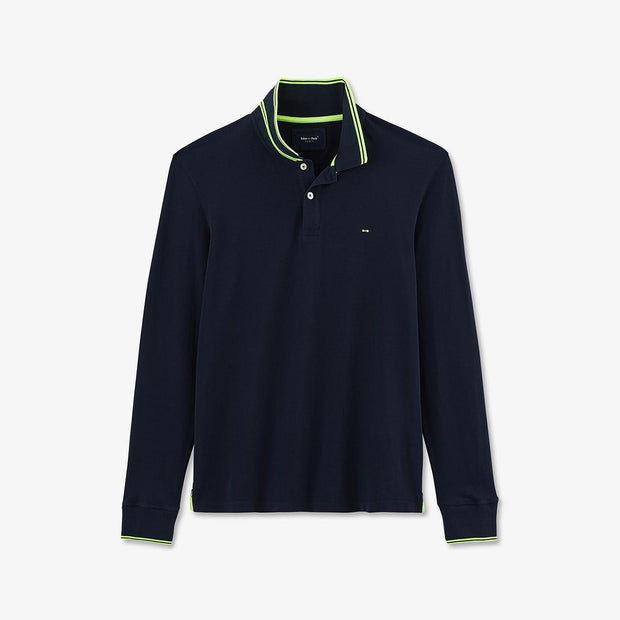 Solid navy blue cotton piqué Fluo polo