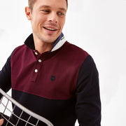 Burgundy color-block cotton piqué polo