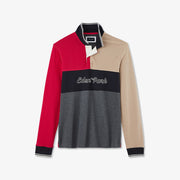 Long-sleeved cotton color-block polo