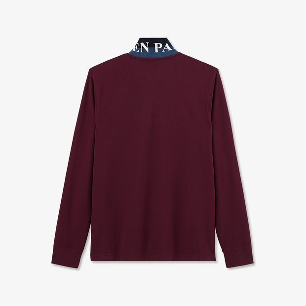 Burgundy cotton polo with contrasting underside of collar