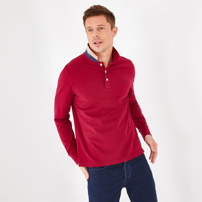 Cotton polo with contrasting underside of collar