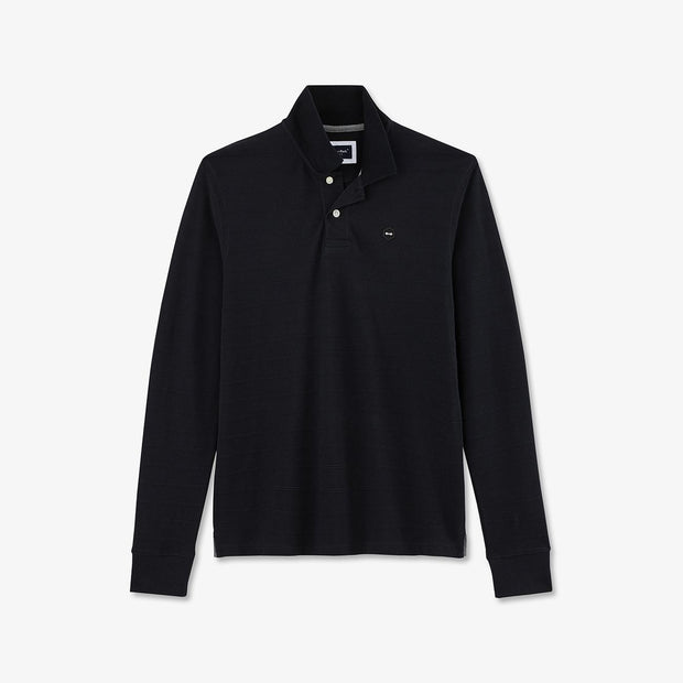 Black textured cotton piqué Hexa polo