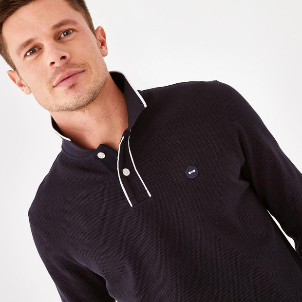 Navy blue comfortable stretch knit Hexa polo