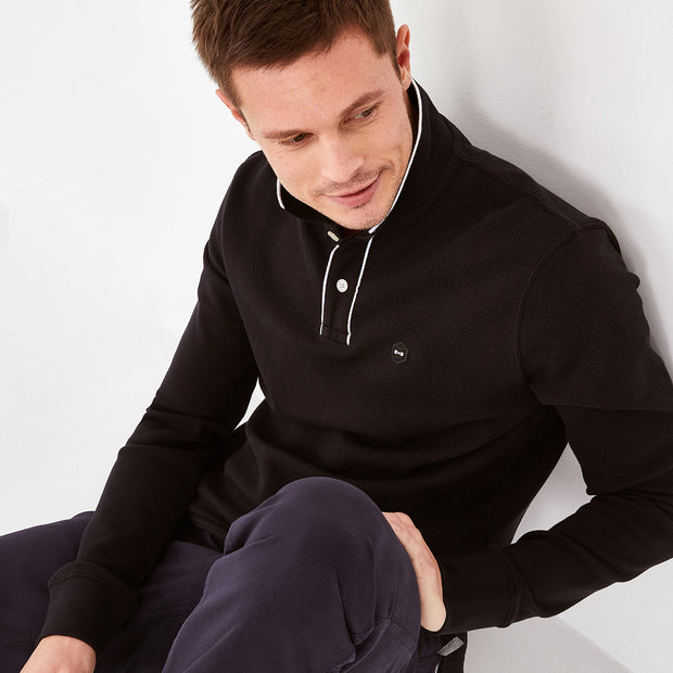 Black comfortable stretch knit Hexa polo