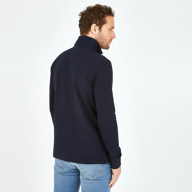 Navy stretch Pima cotton polo with rugby collar