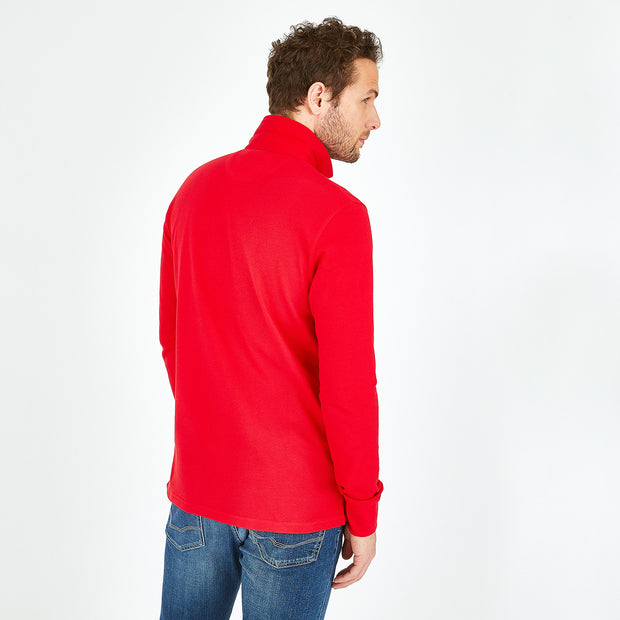 Red stretch Pima cotton polo with rugby collar