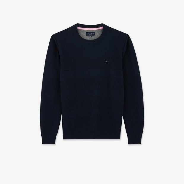 Navy blue cotton jumper with textured stripes