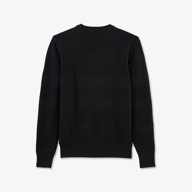 Black cotton jumper with textured stripes