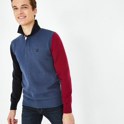 Rugby collar blue color-block cotton jumper