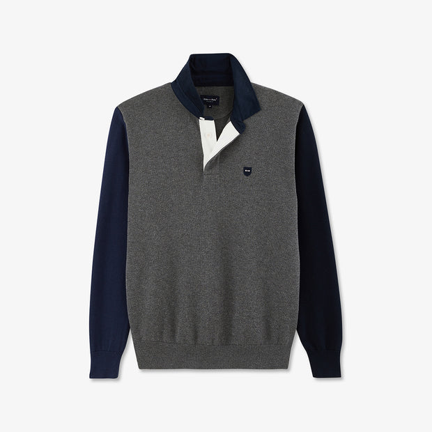 Rugby collar grey color-block cotton jumper