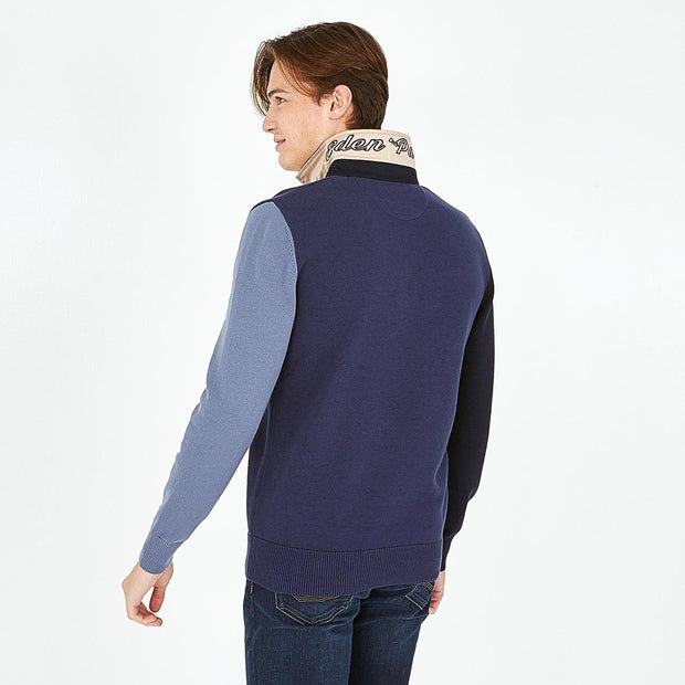 Navy blue cotton jumper with tricolour polo collar