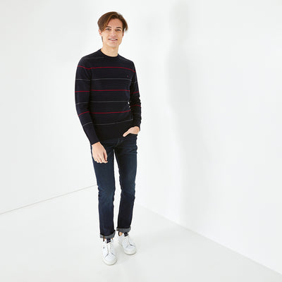 Crew neck striped navy blue cotton jumper