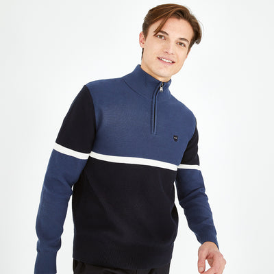 Trucker neck blue cotton color-block jumper