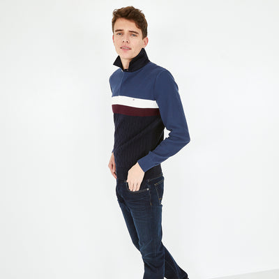 Rugby collar textured cotton denim color-block jumper