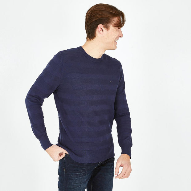 Blue cotton jumper with textured stripes