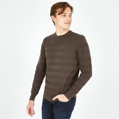 Khaki cotton jumper with textured stripes