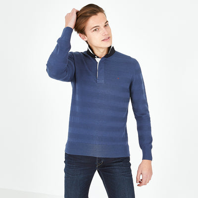 Rugby collar navy blue textured cotton jumper