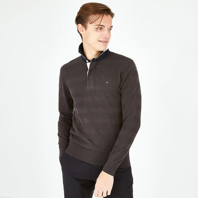 Rugby collar khaki textured cotton jumper
