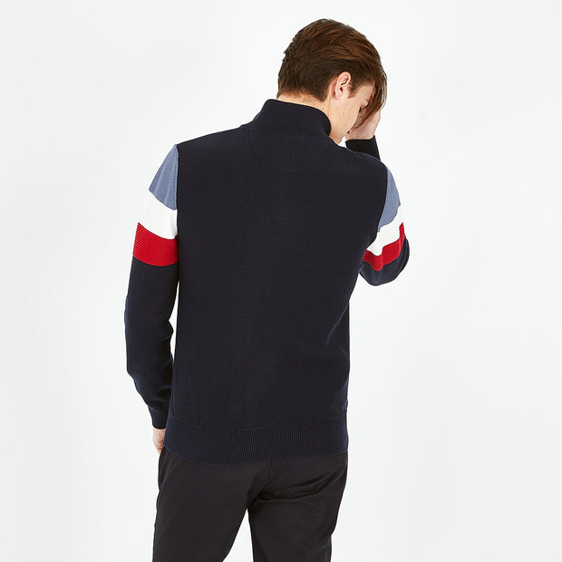 Trucker neck navy blue jumper with tricolour bands