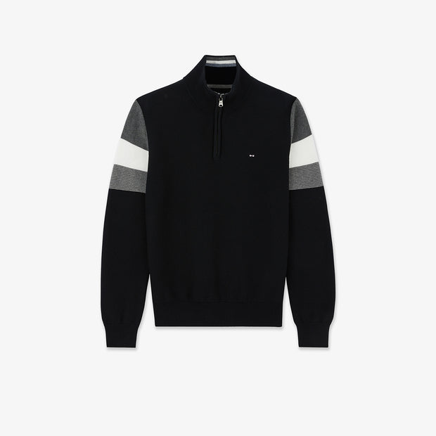 Trucker neck black jumper with tricolour bands