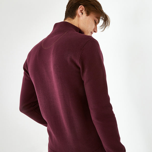 Trucker neck burgundy cotton jumper