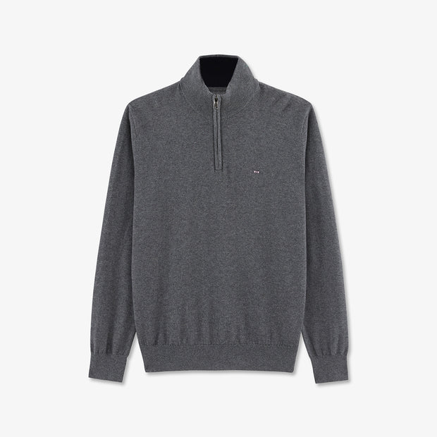 Zip neck grey cotton and cashmere jumper