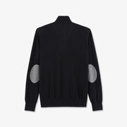 Zip neck black cotton and cashmere jumper