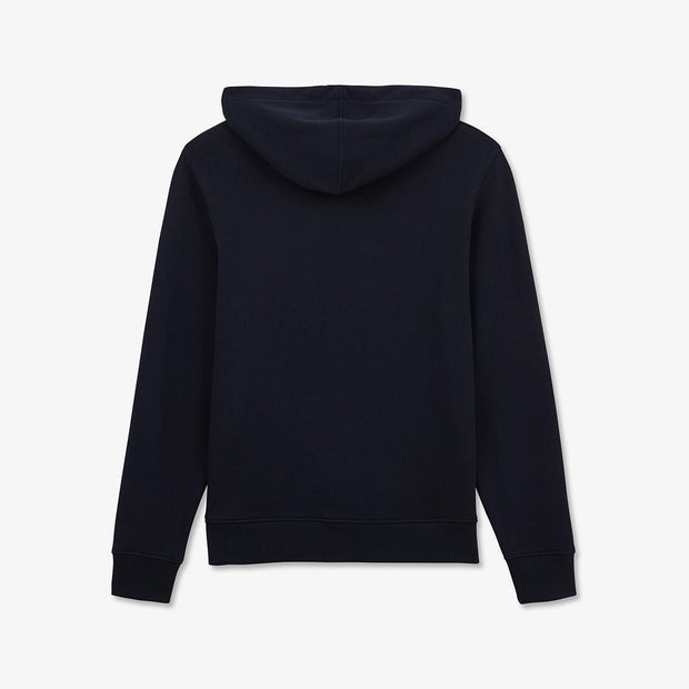 Hooded navy blue fleece sweatshirt