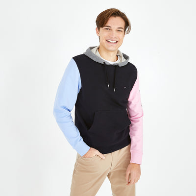 Hooded fleece color-block sweatshirt