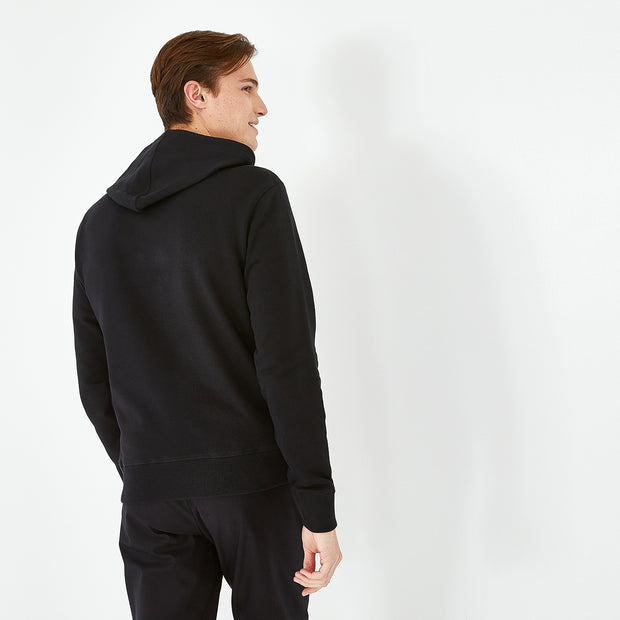 Hooded black fleece zip sweatshirt