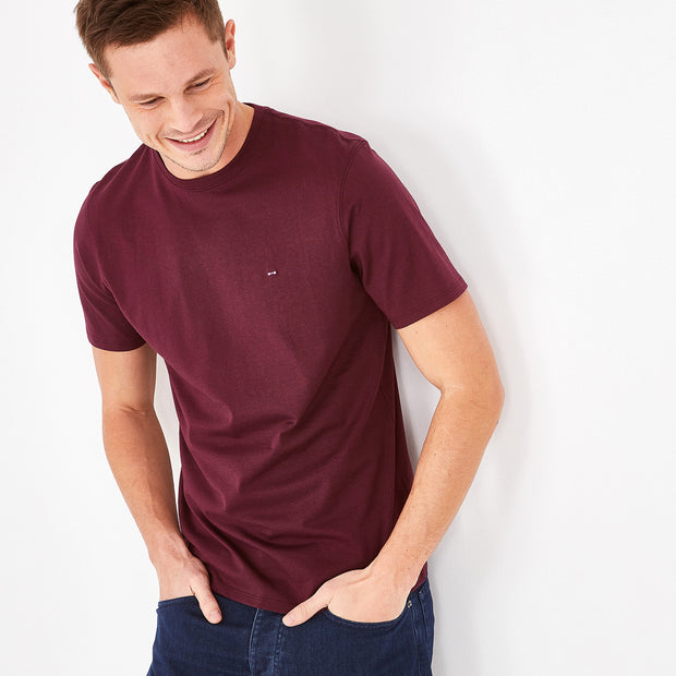 Crew neck solid burgundy Pima cotton T-shirt