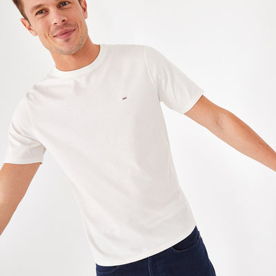 Crew neck solid beige Pima cotton T-shirt