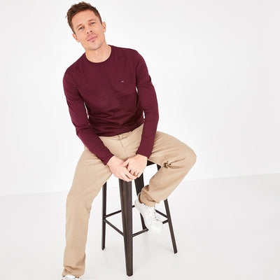 Long-sleeved burgundy Pima cotton T-shirt