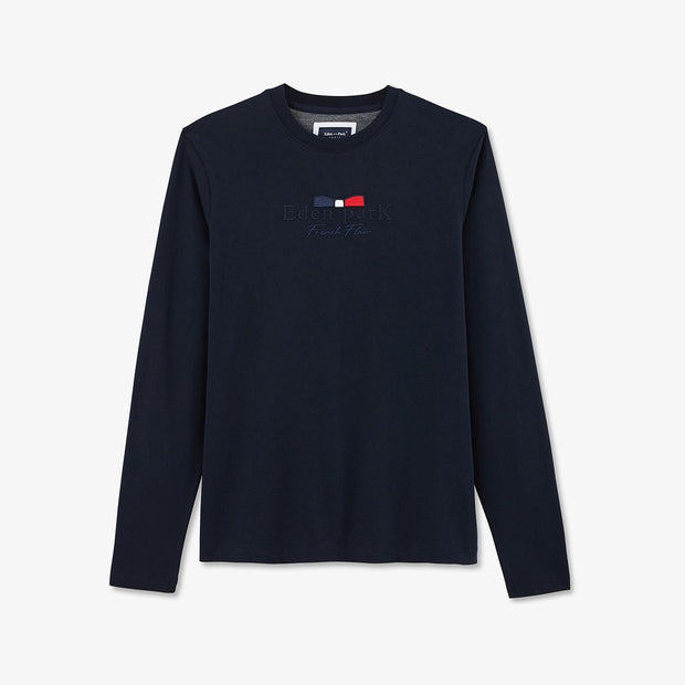 Long-sleeved embroidered navy blue cotton T-shirt