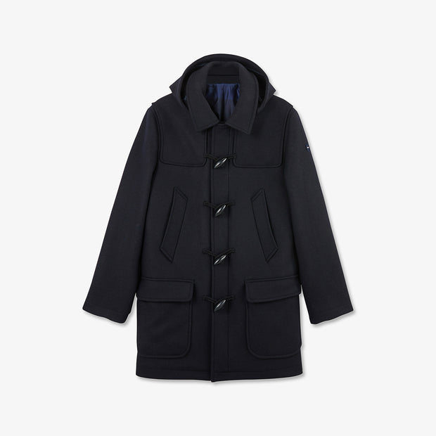 Solid navy blue wool-and-mixed-fabric-and-mixed-fabricbroadcloth duffle coat