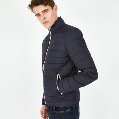 Lightweight navy blue quilted Yan rain jacket
