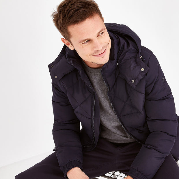 Solid navy blue quilted rain jacket
