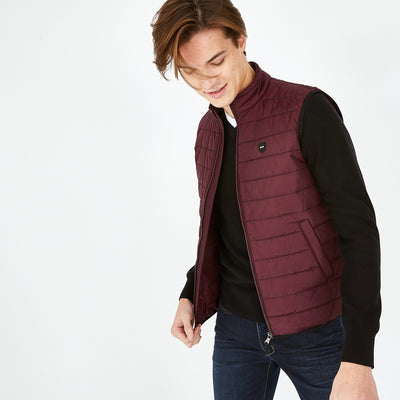 Burgundy Yohan quilted rain gilet
