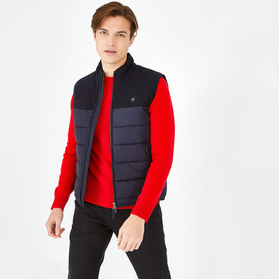 Bi-material navy blue quilted gilet