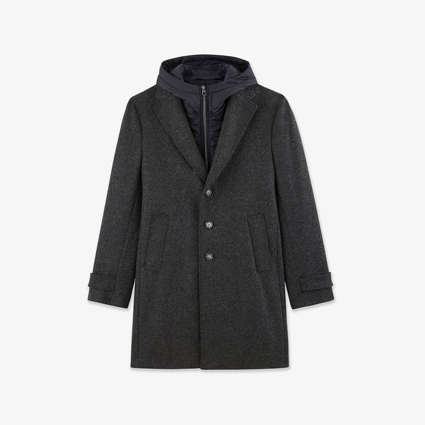 Grey coat with detachable nylon lining