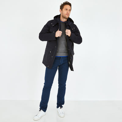 Navy blue quilted rain parka with detachable hood