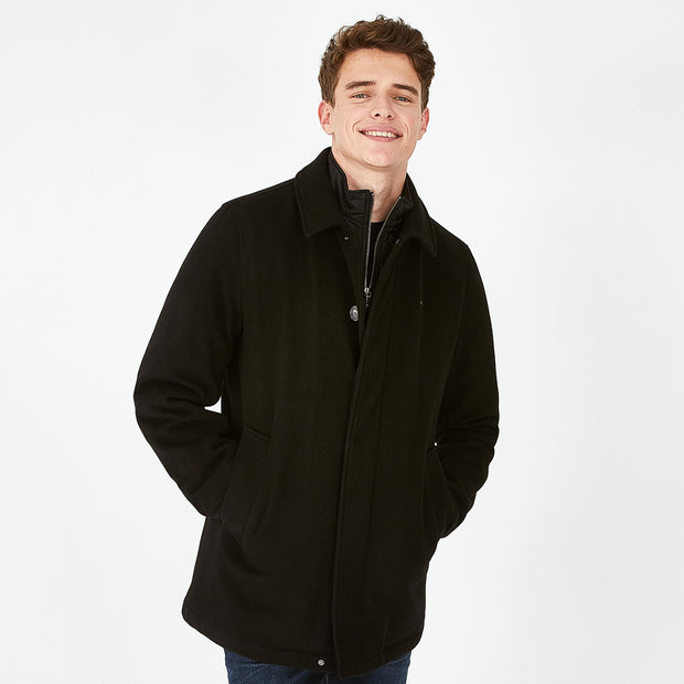 Black wool-and-mixed-fabric-and-mixed-fabricbroadcloth Verona rain parka